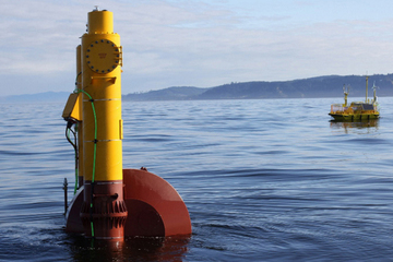 This buoy is designed to harvest energy from the movement of ocean waves. It's one of two designs that will be tested off the coast of Oregon this year.